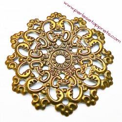 Lot 6 estampes rondes en filigrane en métal bronze laiton 47mm pour bijoux perles et apprêts