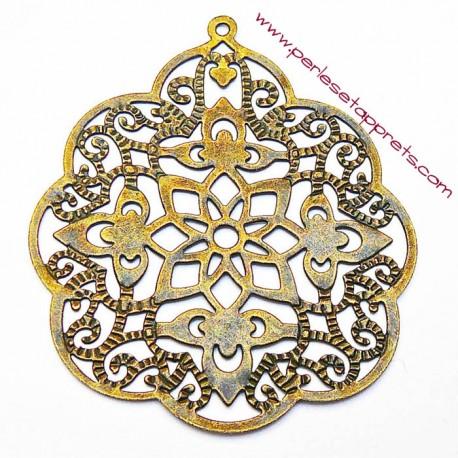Estampe ronde en filigrane en métal bronze laiton 58mm pour bijoux perles et apprêts
