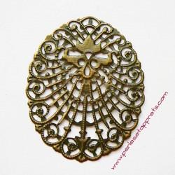 Estampe ovale en filigrane enmétal bronze laiton 6cm pour bijoux perles et apprêts