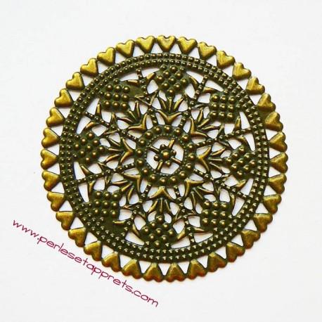 Lot 5 estampes rondes en filigrane en métal bronze laiton 6cm pour bijoux perles et apprêts