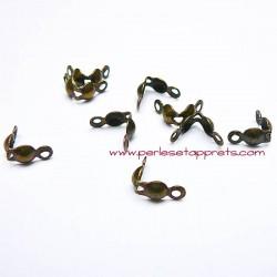 Lot 40 cache noeuds en métal bronze laiton 4mm pour bijou, cordon, perles et apprêts