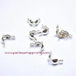 Lot 10 cache noeuds en métal argenté 4mm pour bijoux cordons, perles et apprêts