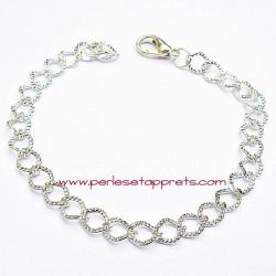 Bracelet souple plat en métal argenté clair à breloque 20cm, à décorer perles et apprêts