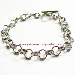 Bracelet souple rond en métal argenté à breloque 22cm, fermoir toggle, à décorer perles et apprêts