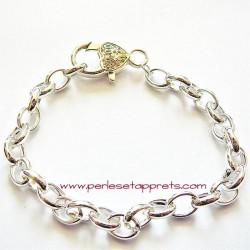 Bracelet souple ovale en métal argenté clair breloque 20cm, à décorer perles et apprêts