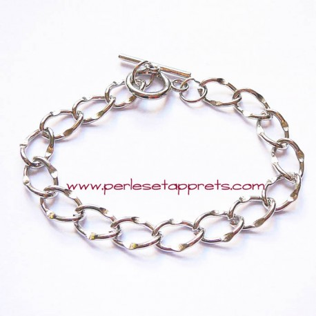 Bracelet souple plat en métal argenté à breloque, fermoir toggle 18cm, à décorer, perles et apprêts