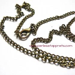 Chaîne collier en métal bronze laiton 50cm, maille gourmette 3mm, à décorer perles et apprêts