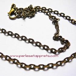 Chaîne collier en métal bronze laiton 50cm, maille forçat avec mousqueton 4mm, à décorer, perles et apprêts