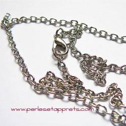 Chaîne collier en métal argenté rhodié 46cm, maille forçat avec mousqueton 3mm, à décorer, perles et apprêts