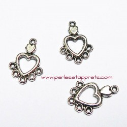 Connecteur coeur en métal argenté pour bijoux perles et apprêts
