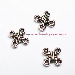 Connecteur carré en métal argenté 10mm pour bijoux perles et apprêts