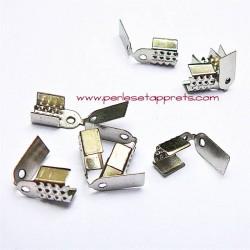 Lot 10 embouts en métal argenté 5mm, pour cordon, bijoux perles et apprêts
