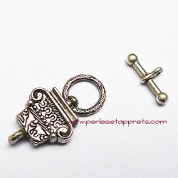 Fermoir toggle en métal argenté 23mm pour bijoux perles et apprêts