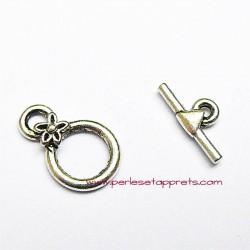 Fermoir toggle rond en métal argenté 10mm pour bijoux, perles et apprêts