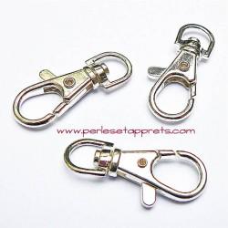 Fermoir mousqueton en métal argenté 4cm pour bijoux porte clés perles et apprêts