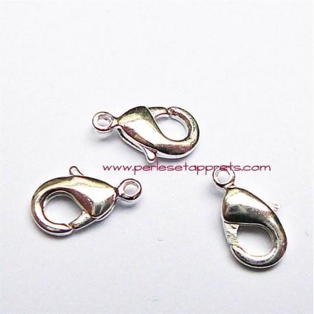 Lot 10 fermoirs mousqueton en métal argenté 12mm pour bijoux perles et apprêts