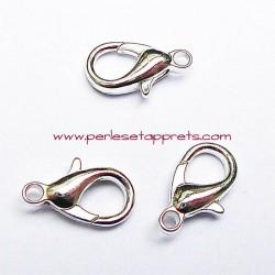 Lot 5 fermoirs mousqueton en métal argenté 15mm pour bijoux perles et apprêts