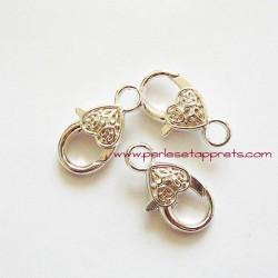 Fermoir mousqueton coeur en métal argenté 25mm pour bijoux perles et apprêts