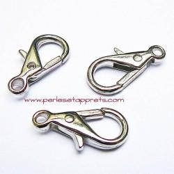 Fermoir mousqueton en métal argenté 28mm pour bijoux porte clés perles et apprêts