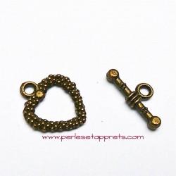 Lots 4 fermoirs toggle coeur 20mm en métal bronze laiton pour bijoux, perles et apprêts