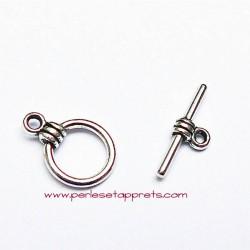 Fermoir toggle rond en métal argenté 10mm pour bijoux perles et apprêts
