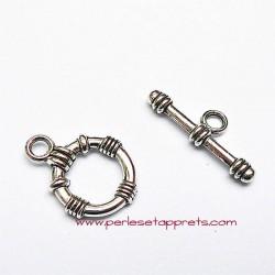Fermoir toggle rond en métal argenté 15mm pour bijoux perles et apprêts