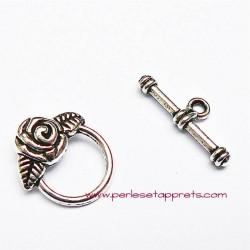 Fermoir toggle rond rose en métal argenté 15mm pour bijoux, perles et apprêts