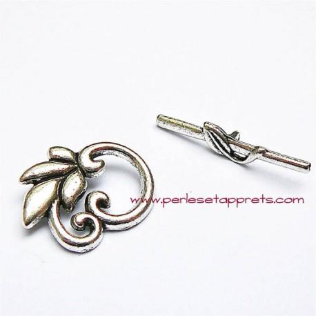 Fermoir toggle feuille en métal argenté 24mm pour bijoux perles et apprêts