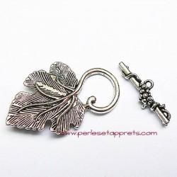 Lot 4 fermoirs toggle en métal argenté feuille 34mm pour bijoux perles et apprêts