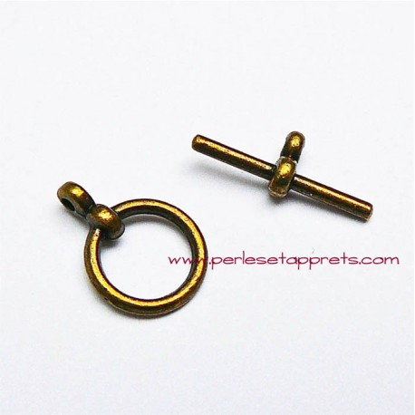 Fermoir rond en métal bronze laiton 12mm pour bijoux perles et apprêts