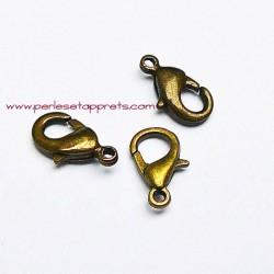 Lot 12 fermoirs mousqueton en métal bronze laiton 10mm pour bijoux perles et apprêts