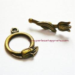 Lot 6 fermoirs ronds tulipe en métal bronze laiton 13mm pour bijoux perles et apprêts