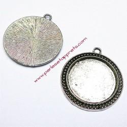 Pendentif rond en métal argenté 4cm à décorer pour bijoux perles et apprêts