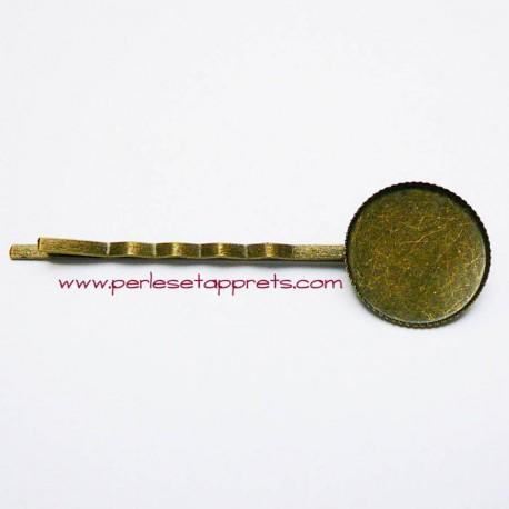 Epingle à cheveux rétro ronde en métal bronze laiton 18mm à décorer, perles et apprêts