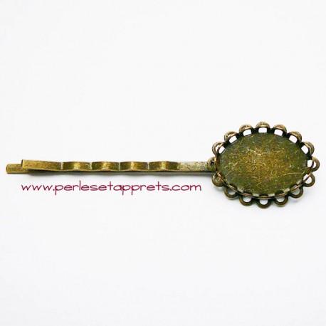 Epingle rétro à cheveux ovale en métal bronze laiton 20mm à décorer, perles et apprêts
