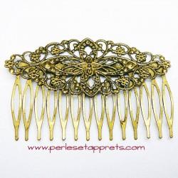 Peigne à cheveux en métal bronze laiton rétro 14 dents 8cm à décorer, perles et apprêts