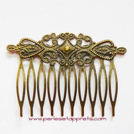 Peigne pour cheveux rétro en métal bronze laiton 10 dents 6cm à décorer perles et apprêts