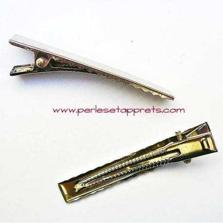 Pince croco pour cheveux en métal argenté 6cm à décorer perles et apprêts