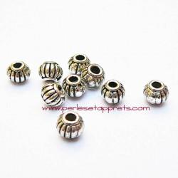 Perle intercalaire ronde en métal argenté 4mm pour bijoux perles et apprêts