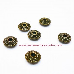 Lot 10 perles intercalaires 9mm ronde en métal couleur bronze