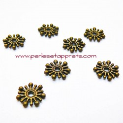 Lot 20 perles intercalaires rondes plates en métal bronze laiton 9mm pour bijoux perles et apprêts