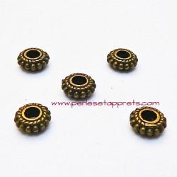 Lot 16 perles intercalaires rondes plates en métal bronze laiton 8mm pour bijoux perles et apprêts