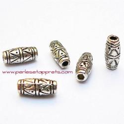 Lot 8 perles intercalaires ovales tubes en métal argenté 11mm pour bijoux perles et apprêts