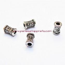 Lot 10 perles intercalaires tubes en métal argenté 7mm pour bijoux perles et apprêts