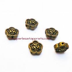 Lot 10 perles intercalaires fleur en métal bronze laiton 7mm pour bijoux perles et apprêts