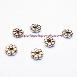 Lot 15 perles intercalaires fleurs plates en métal argenté 7mm pour bijoux perles et apprêts