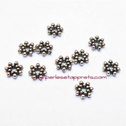 Lot 20 perles intercalaires rondes plates en métal argenté 7mm pour bijoux perles et apprêts