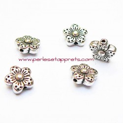 Lot 10 perles intercalaire 9mm fleur en métal argenté