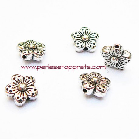 Lot 10 perles intercalaires fleurs en métal argenté 9mm pour bijoux perles et apprêts