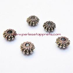 Lot 8 perles intercalaires rondes en métal argenté 8mm pour bijoux perles et apprêts